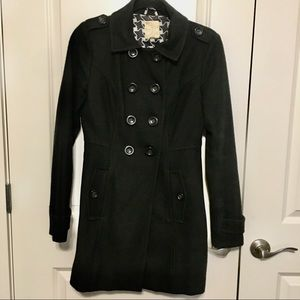 Tulle Double-Breasted Black Peacoat! (Size Small)!